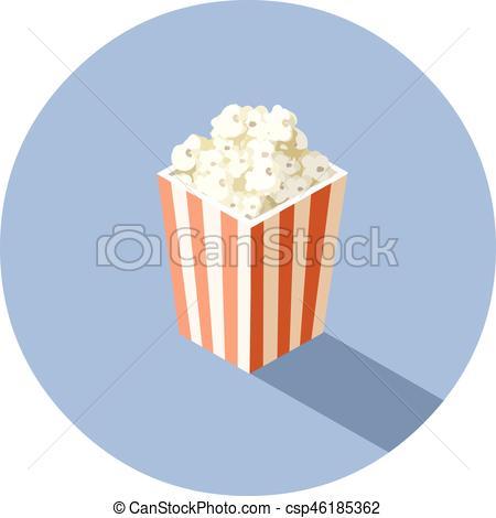 450x470 Vector Isometric Illustration Of Box With Popcorn, Cinema Clip