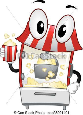339x470 Mascot Popcorn Machine Handling Mascot Illustration