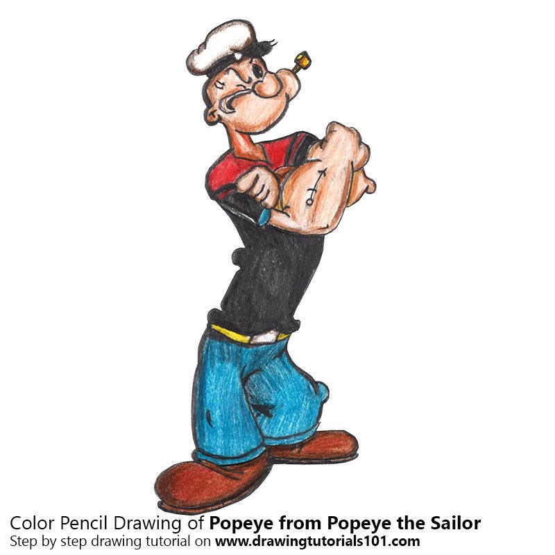 800x800 Popeye From Popeye The Sailor Colored Pencils