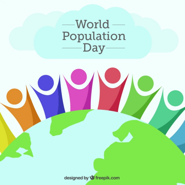 626x626 Abstract People With The World Of Population Day Background Vector
