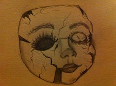 236x176 Photo Closeup Of Face Of Cracked Antique Porcelain Doll Scary