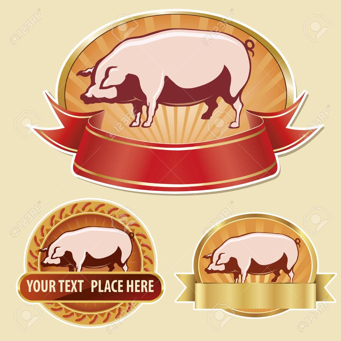 1300x1300 Pig, Pork Label, Hand Drawing Royalty Free Cliparts, Vectors,