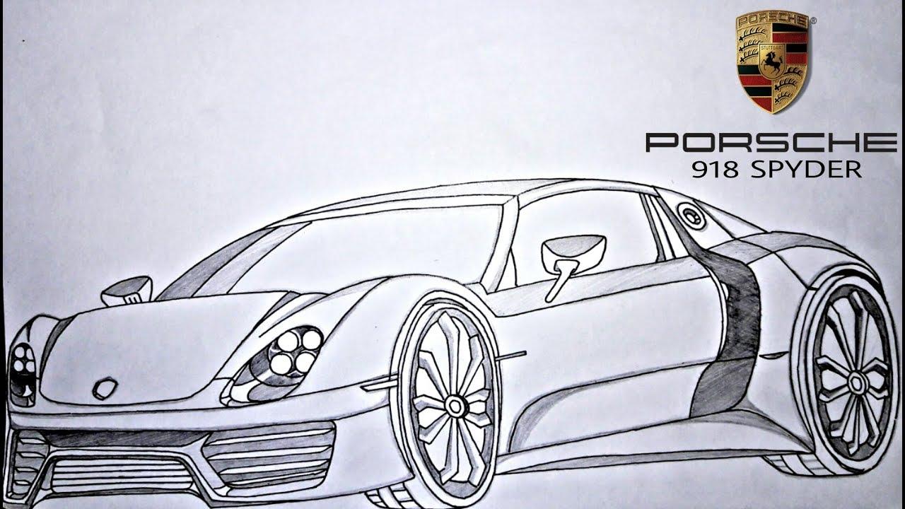1280x720 How To Draw Porsche 918 Spyder !!!