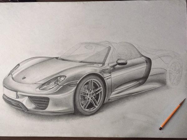 600x450 Porsche 918 Spyder Pencil On Behance Porsche