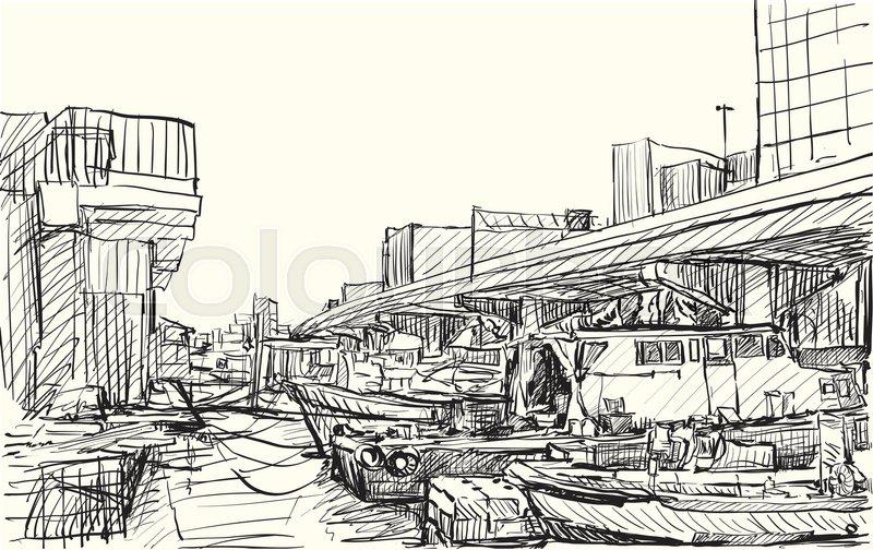800x504 Sketch City Scape Of Japan, Yokohama Port Free Hand Draw