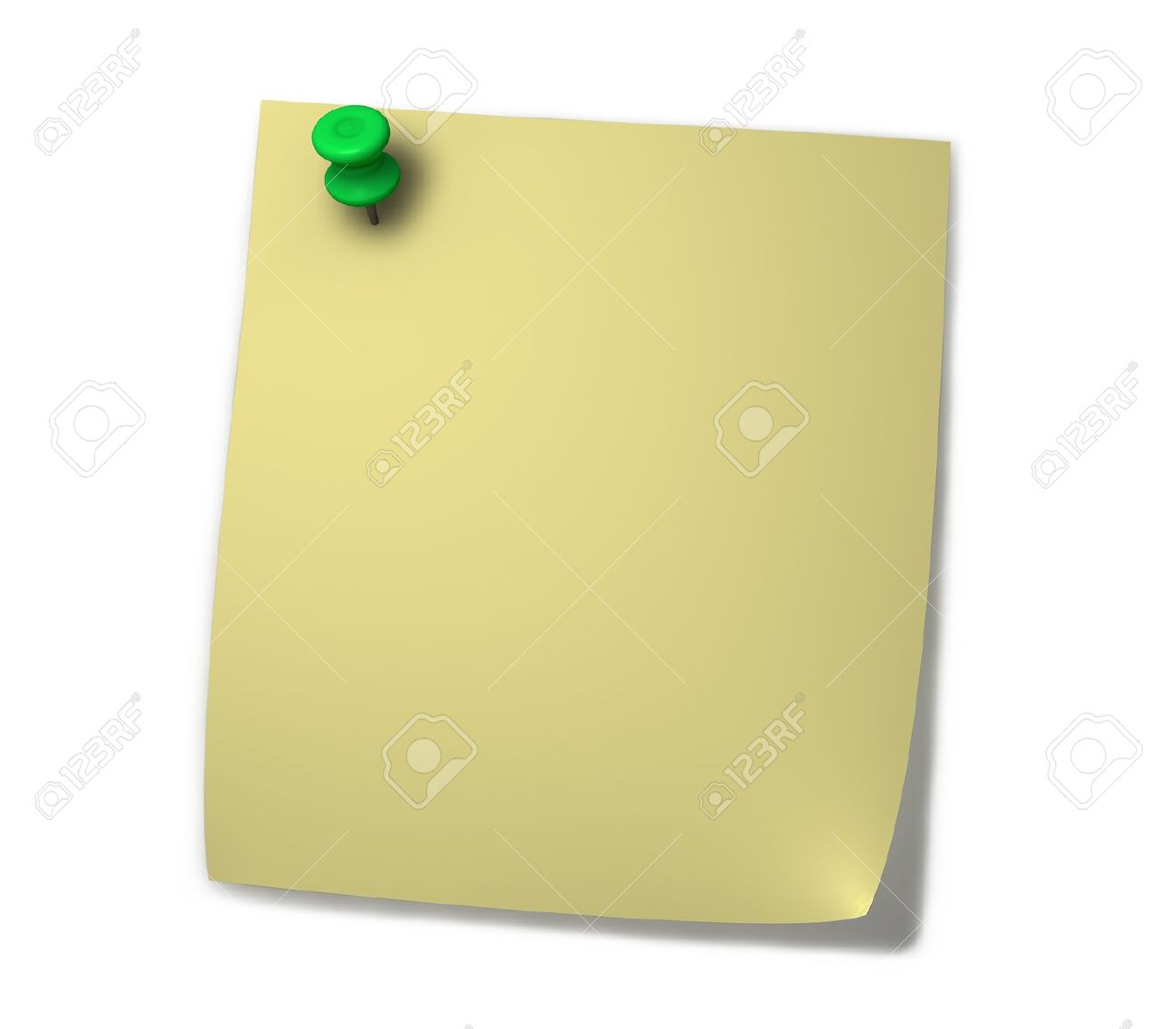 1300x1137 Blank Yellow Post It For Notes With Green Drawing Pin And Shadow