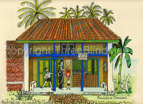 500x363 Drawing Of Post Office On Galle Road By Barbara Sansoni