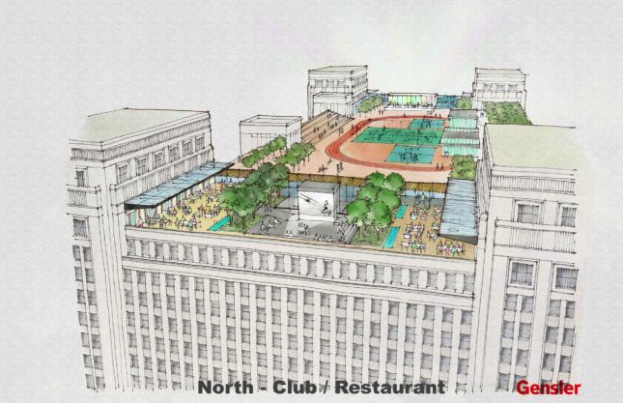 2000x1293 Drawing Of The Rooftop Amenities Proposed For The Old Chicago Post