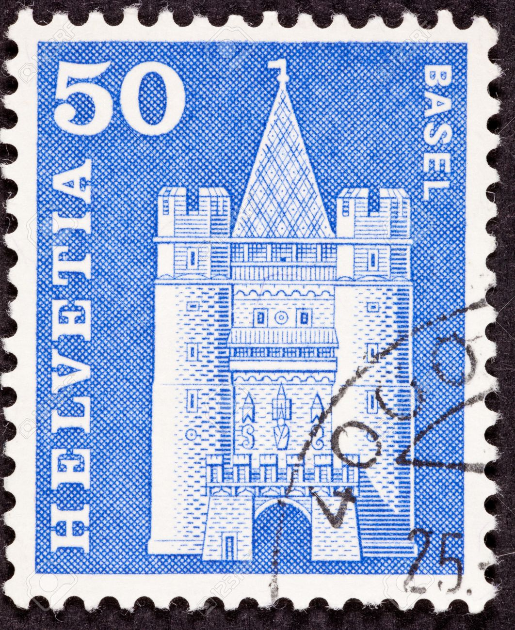 1062x1300 Canceled Swiss Postage Stamp Drawing Of Basel M Nster Cathedral