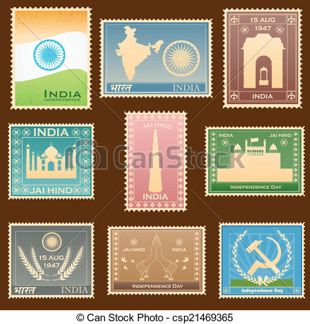 450x470 Easy To Edit Vector Illustration Of Indian Stamp Clip Art Vector