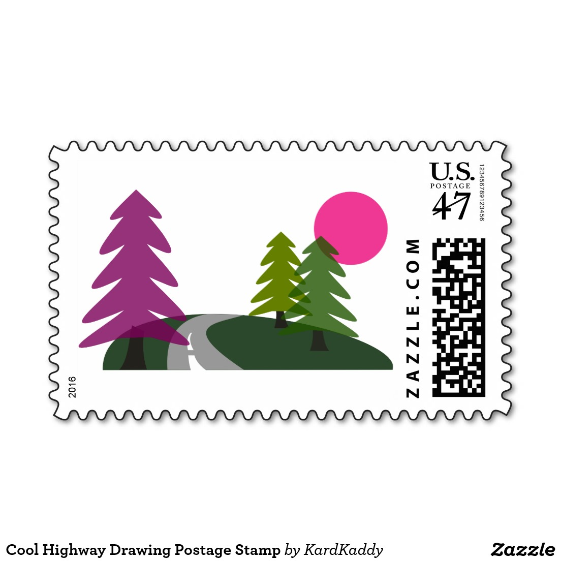 1104x1104 Highway Drawing Postage Stamp