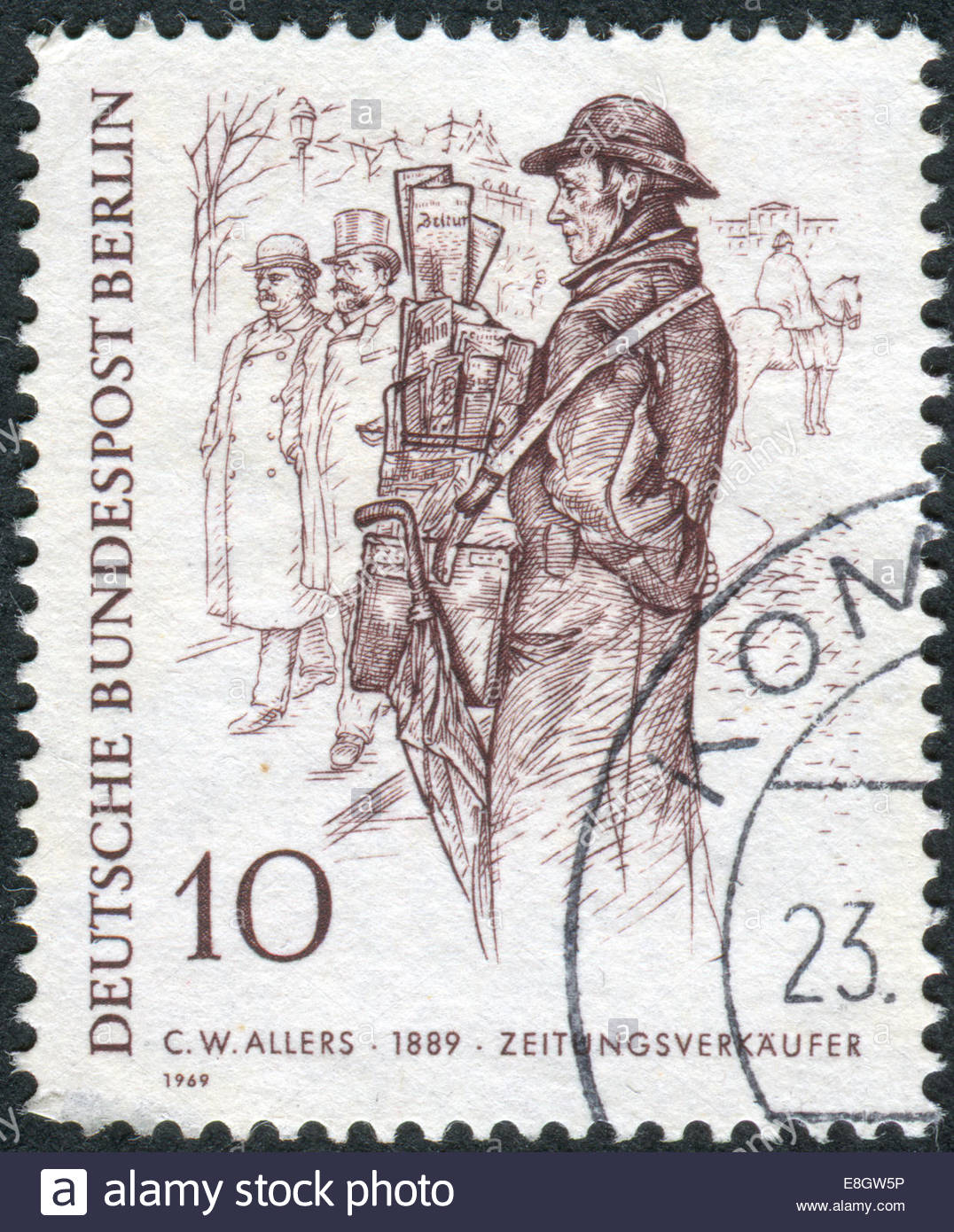 1076x1390 Postage Stamp Printed In Germany (West Berlin), Shows A Drawing