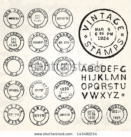 450x470 Vector Vintage Stamp Set. All Pieces Are Separated And Easy