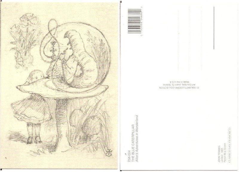 800x577 Alice In Wonderland Art Postcard, The Blue Caterpillar, Pencil