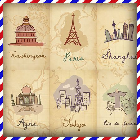 451x451 Free Shipping! Around The World Colorful Romantic Postcards 20 Pcs