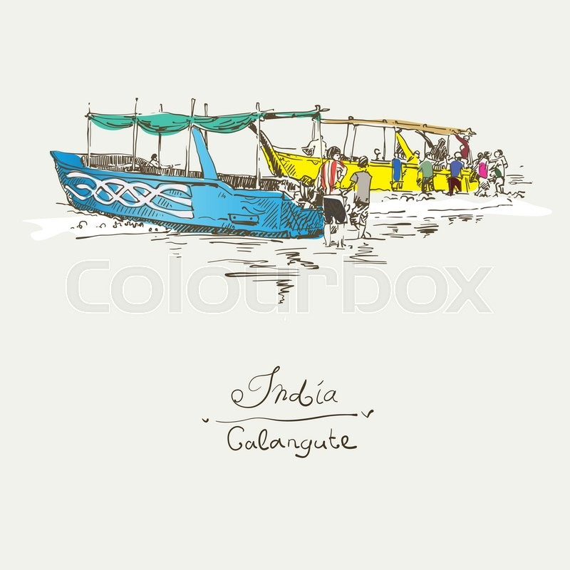 800x800 India Calangute Beach Sketch Drawing With Two Boats Ashore, Retro