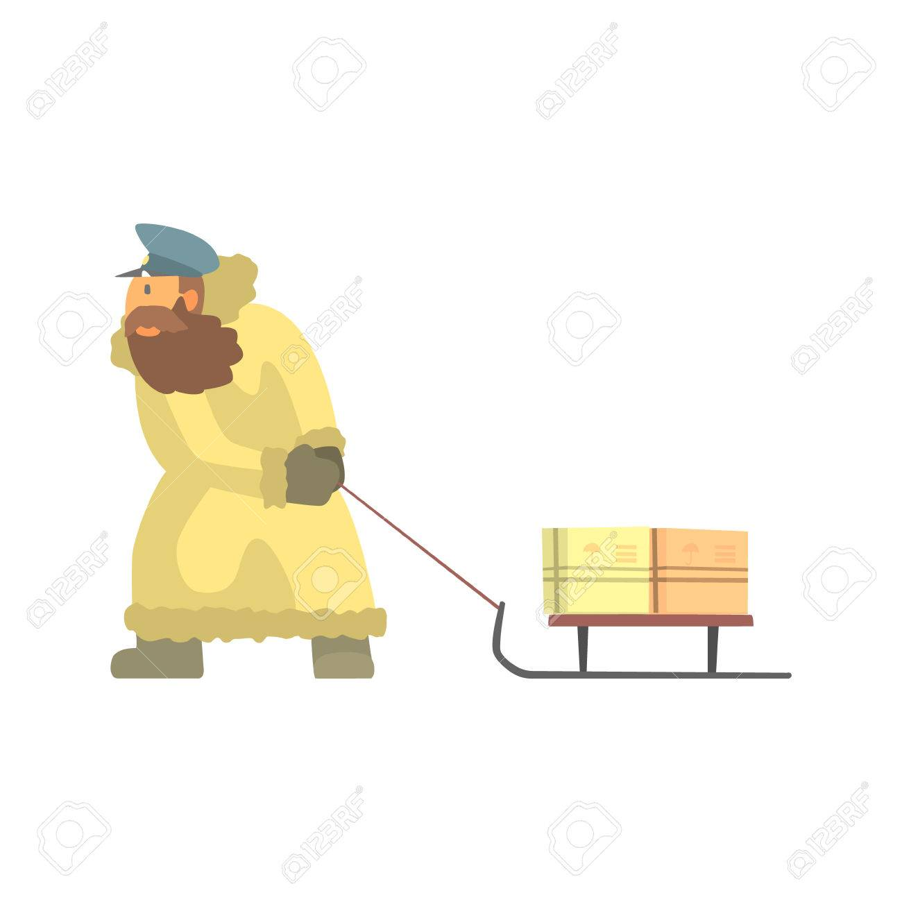 1300x1300 Nothern Postman In Fur Coat Dragging Sled With Mail. Graphic