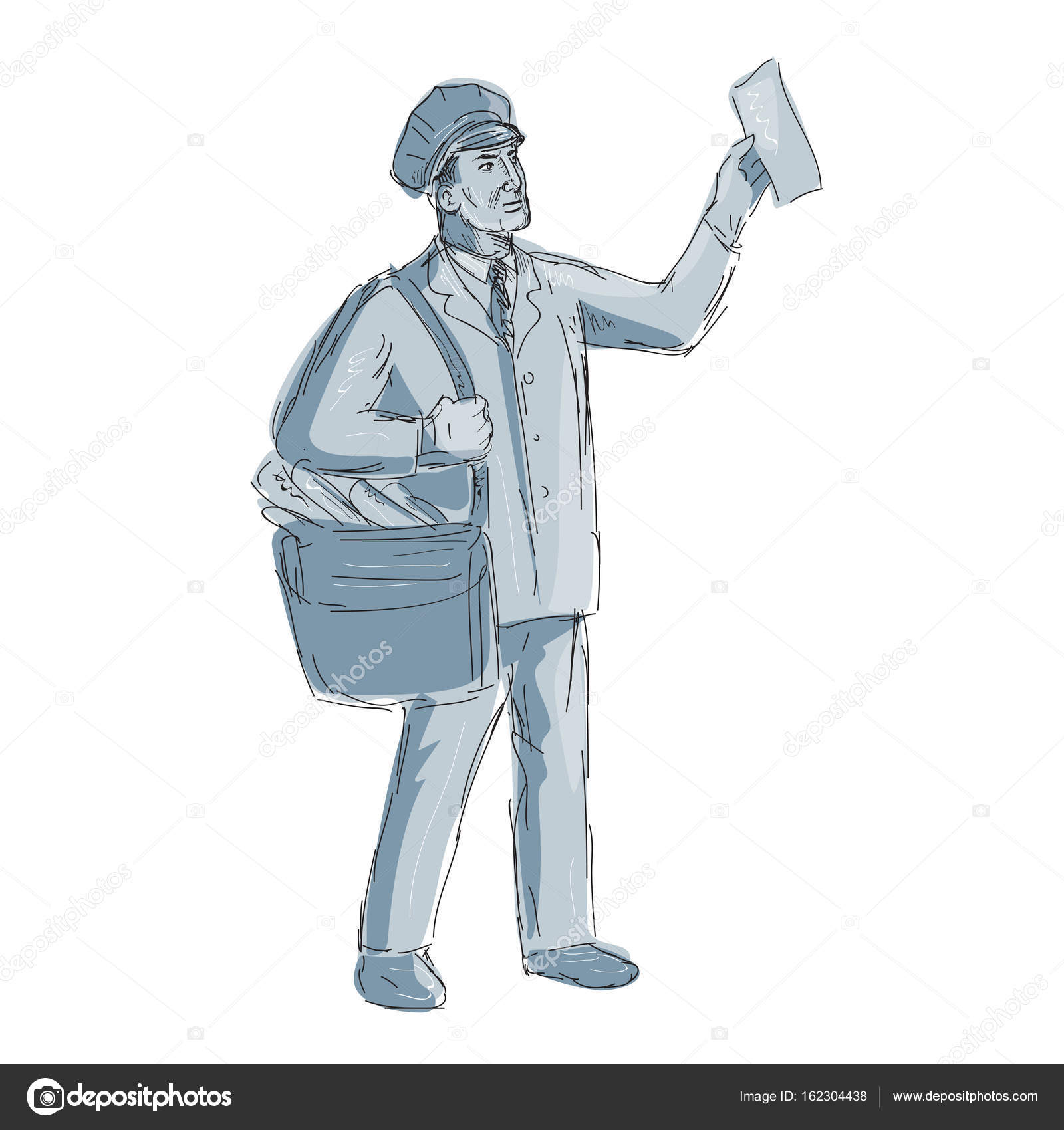 1600x1700 Vintage Postman Holding Up Letter Drawing Stock Vector