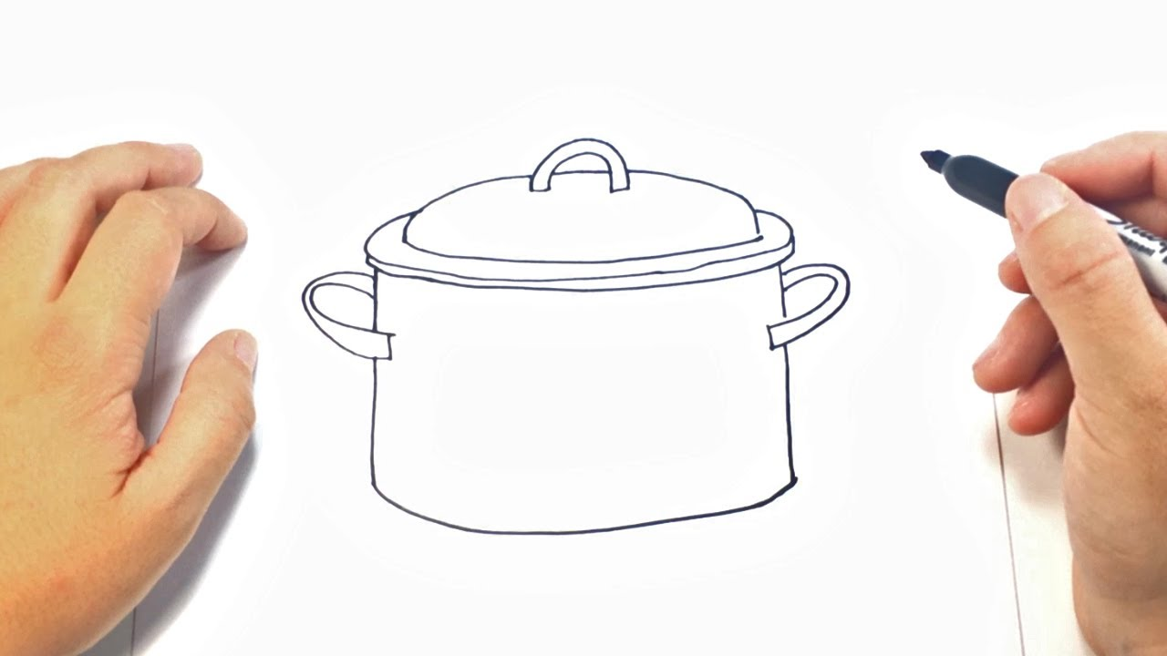 1280x720 How To Draw A Cooking Pot Cooking Pot Easy Draw Tutorial