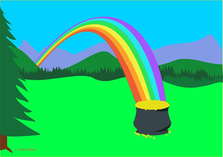 900x634 End Of Rainbow Pot Of Gold Drawing By John Orsbun