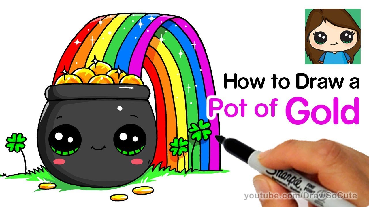1280x720 How To Draw A Pot Of Gold With Rainbow Easy