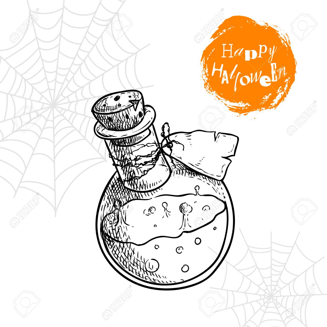 1300x1300 Hand Drawn Potion Bottle With Label And Fizzy Poison. Halloween
