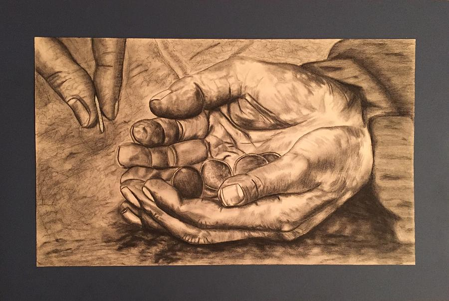 900x605 Hands Of Poverty Drawing By Morgan Morano
