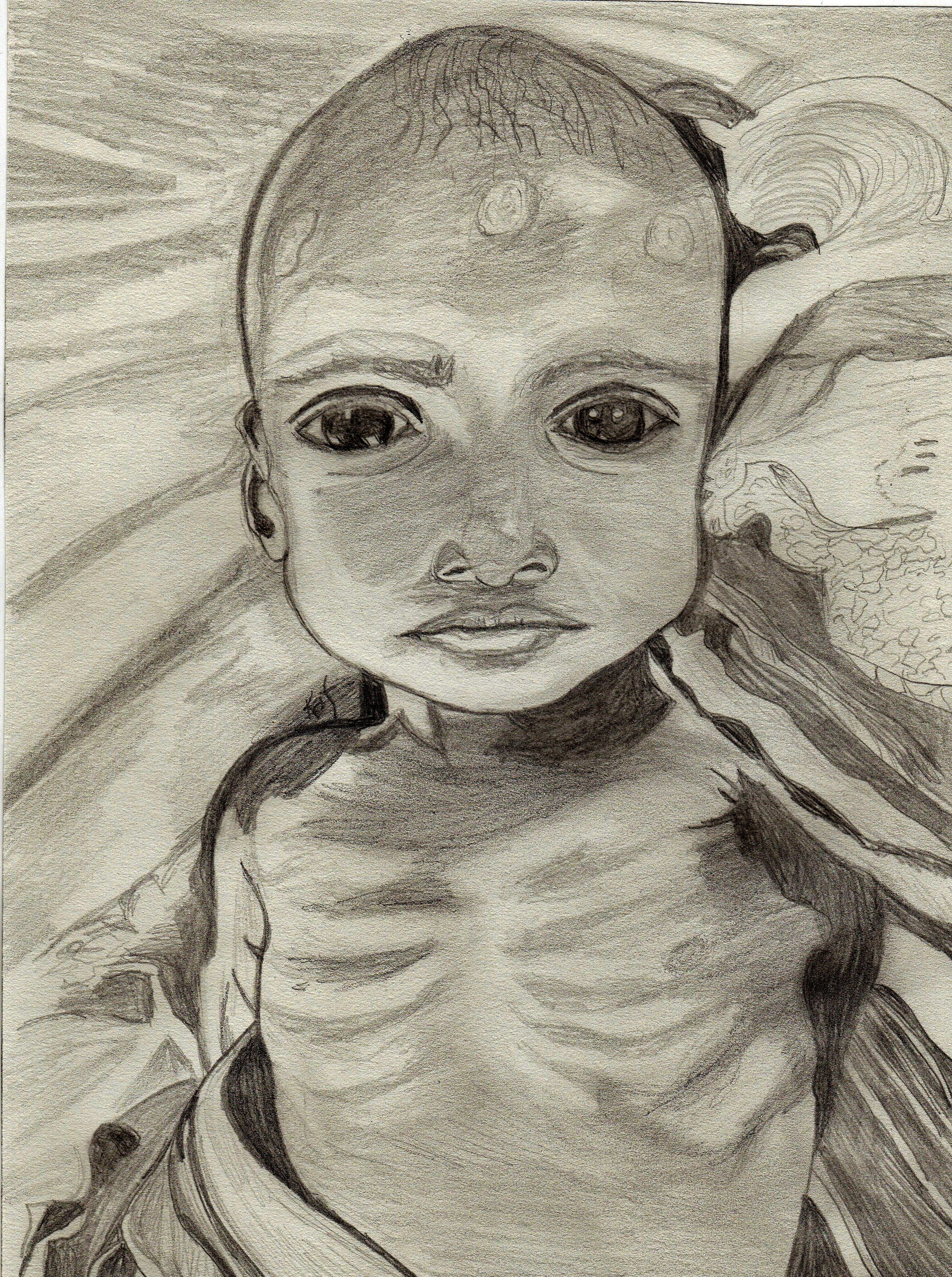 2536x3403 Starving Child Sketch By Kathy Ellinger, Ofs Taken From Photo