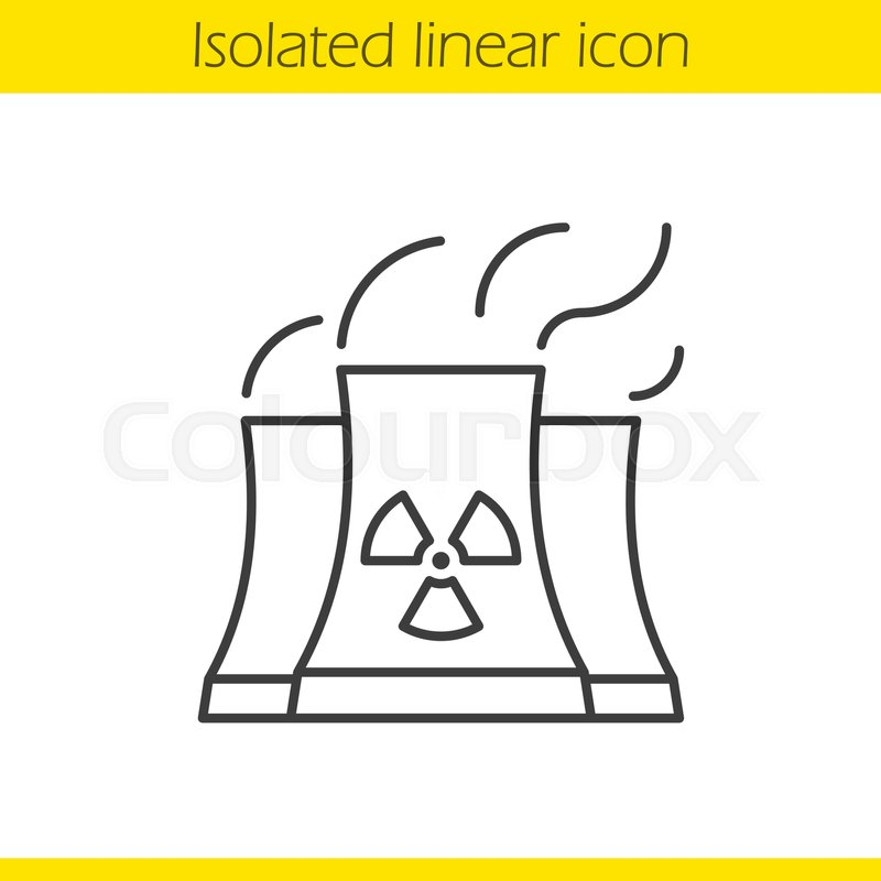 800x800 Nuclear Power Plant With Smoke Cloud. Linear Icon. Thin Line