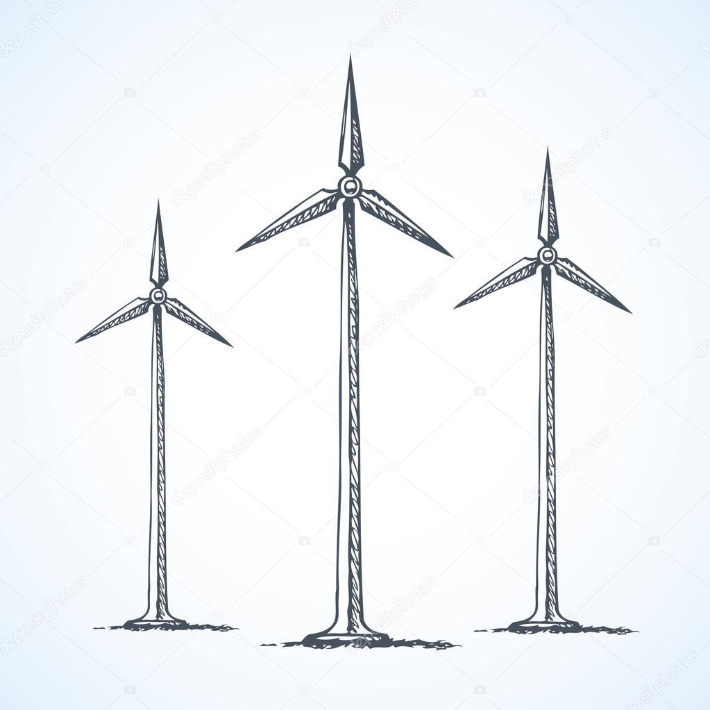 1023x1023 Wind Power Plant. Vector Drawing Stock Vector Marinka