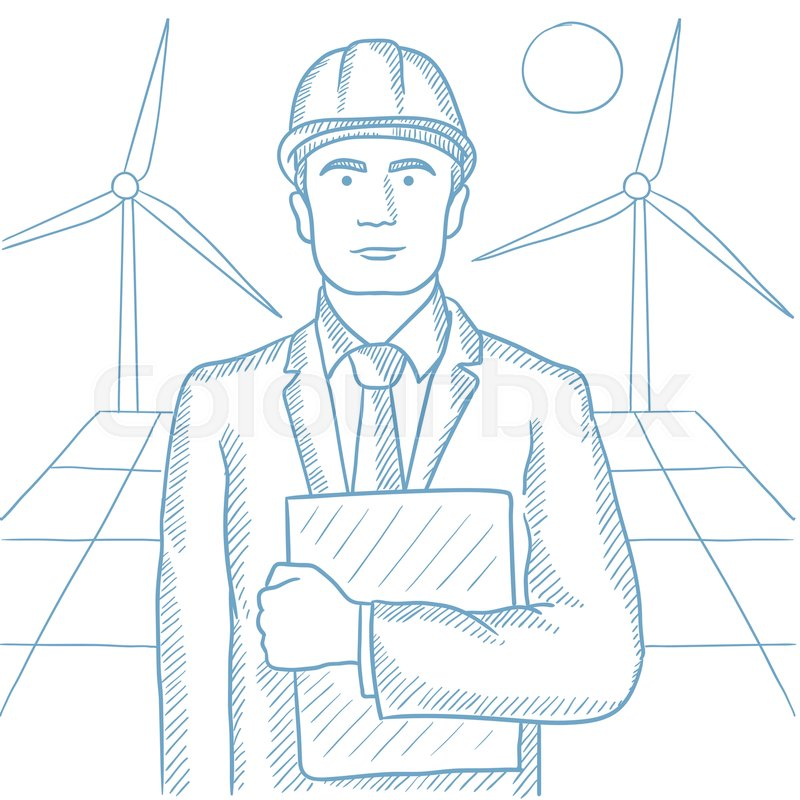 800x800 Worker Of Solar Power Plant And Wind Farm. Confident Man