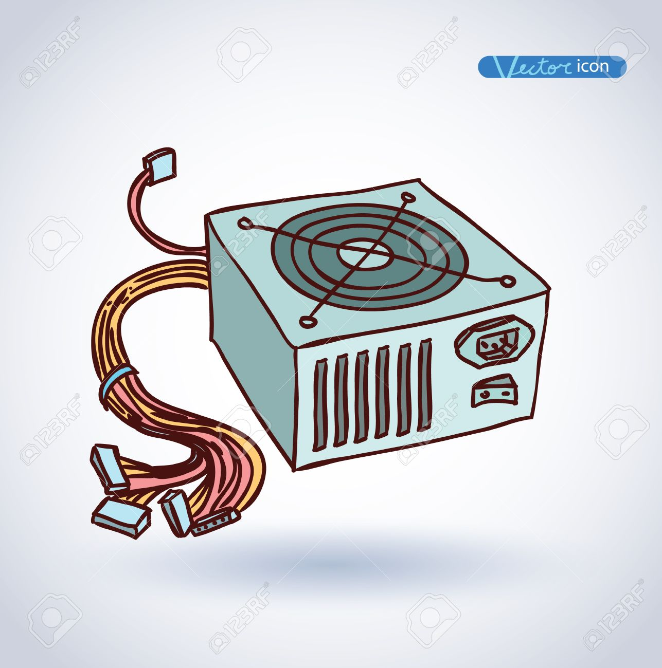 1287x1300 Computer Power Supply Isolated , Vector Illustration. Royalty Free