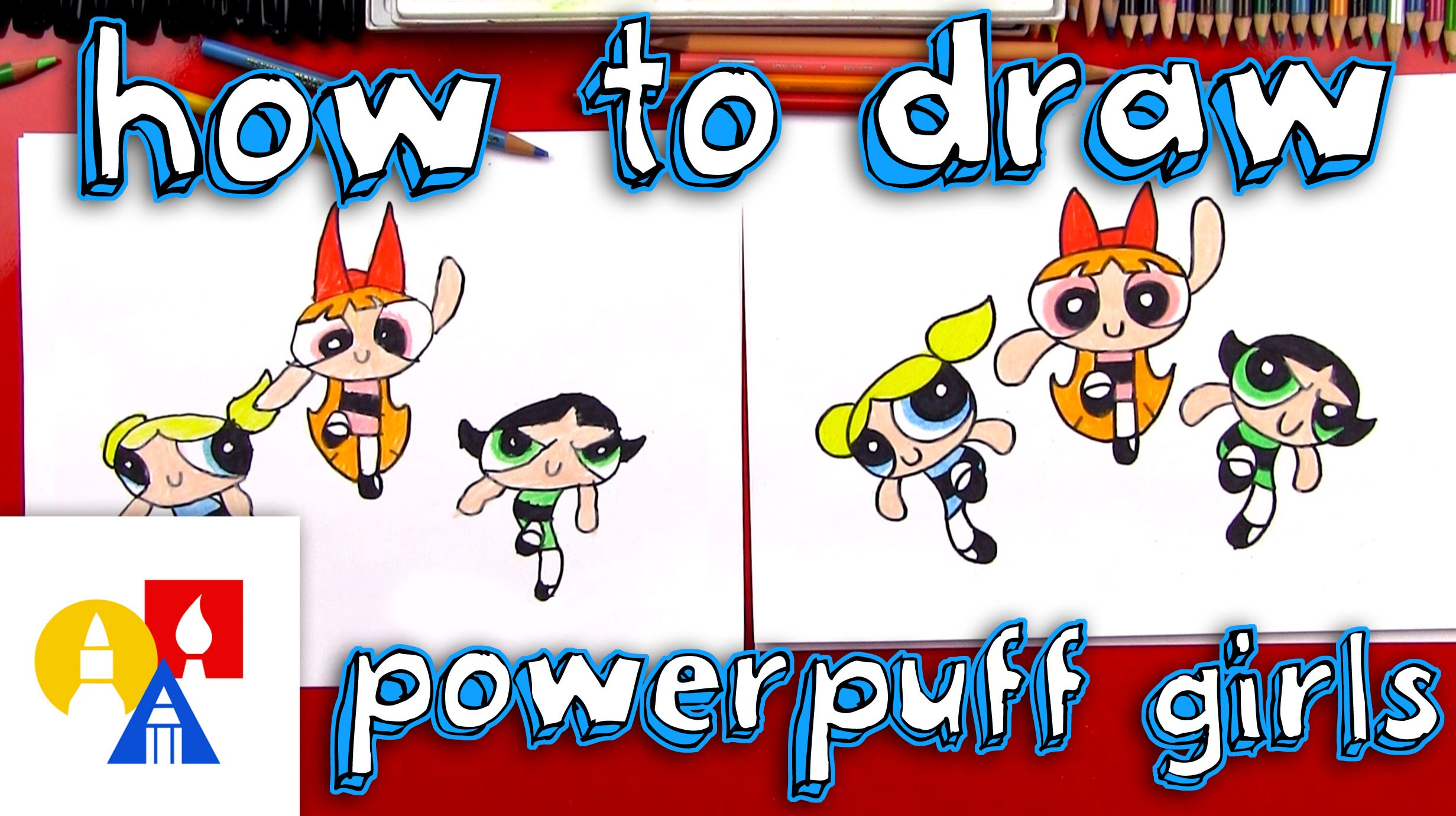 2463x1381 How To Draw The Powerpuff Girls