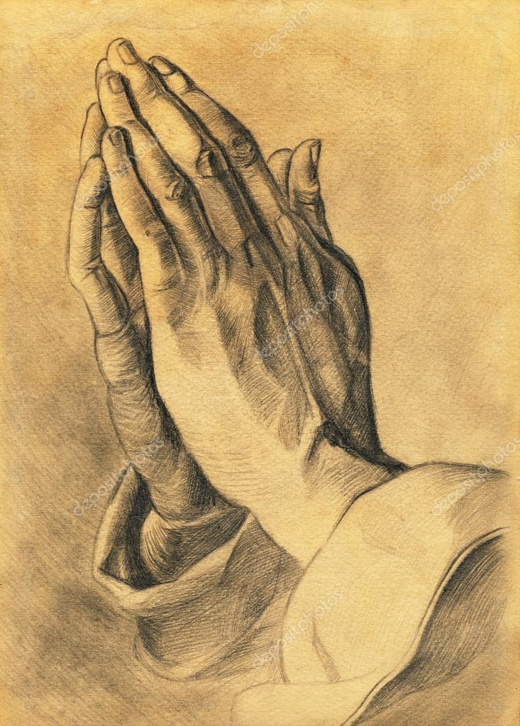 733x1023 Two Hands In Prayer Pose. Pencil Drawing. Stock Photo Soleg