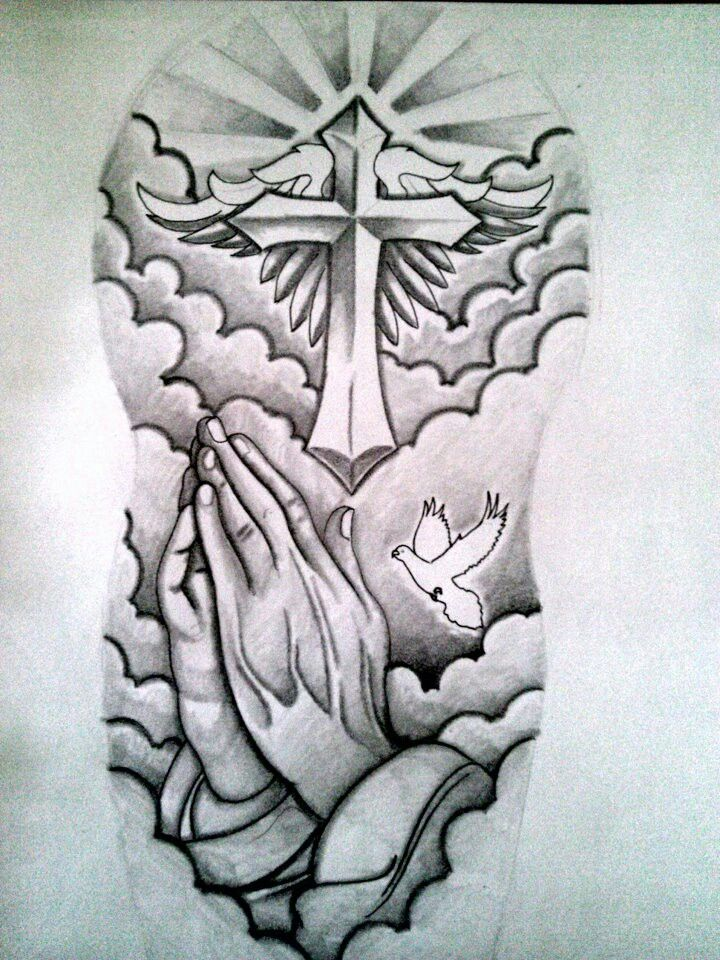 720x960 Awesome Praying Hands And Cross Christian Tattoo Christian