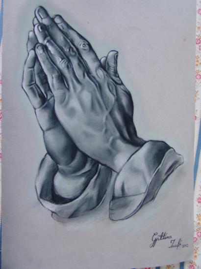 410x547 Praying Hands Drawing By Gjiltina