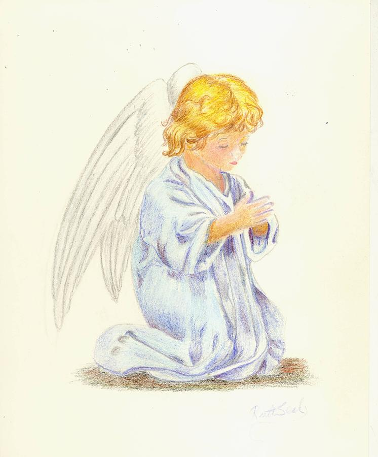 746x900 Angel Praying Drawing By Ruth Seal