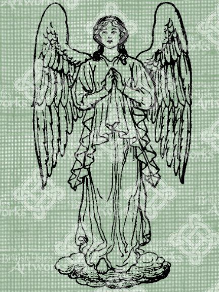 432x576 Digital Download Praying Angel Vintage Drawing Digi Stamp