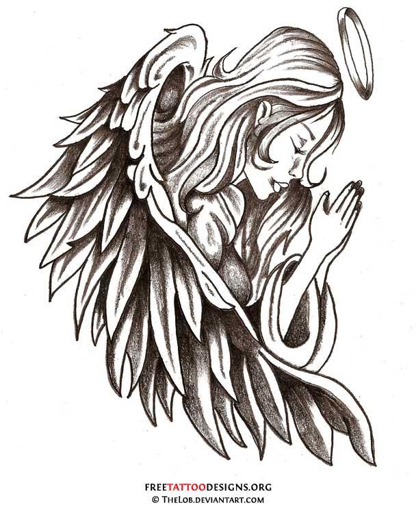 608x740 Guardian Praying Angel Tattoo Design