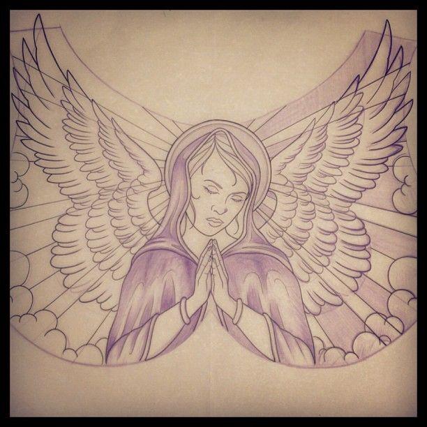 612x612 Impressive Praying Angel Tattoo Drawing Double Hearts Tattoo
