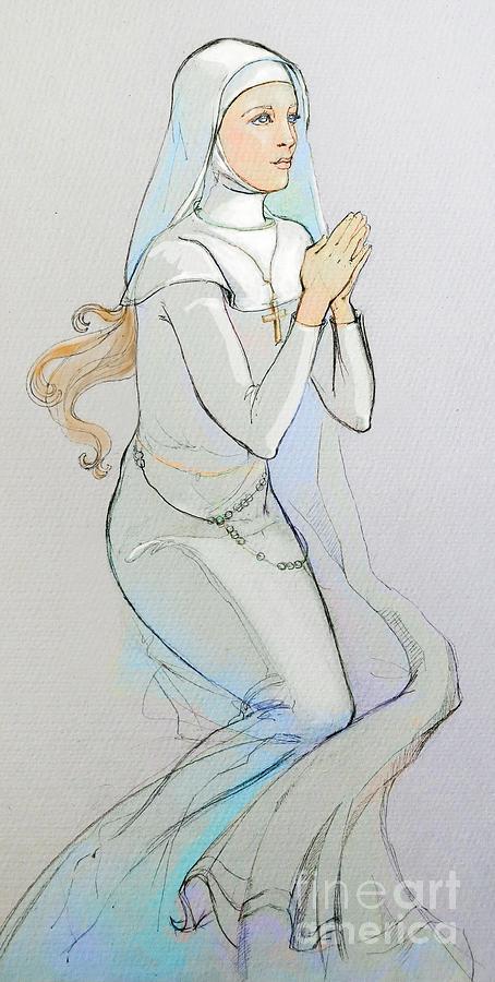 454x900 Praying Nun Drawing By Lada Hunt
