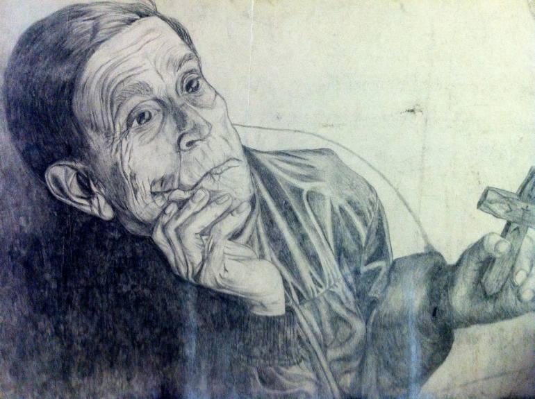 770x575 Saatchi Art Man Praying Drawing By Susanne Perez