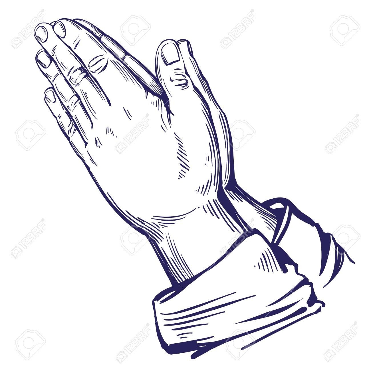 1300x1300 Praying Hands , Symbol Of Christianity Hand Drawn Vector