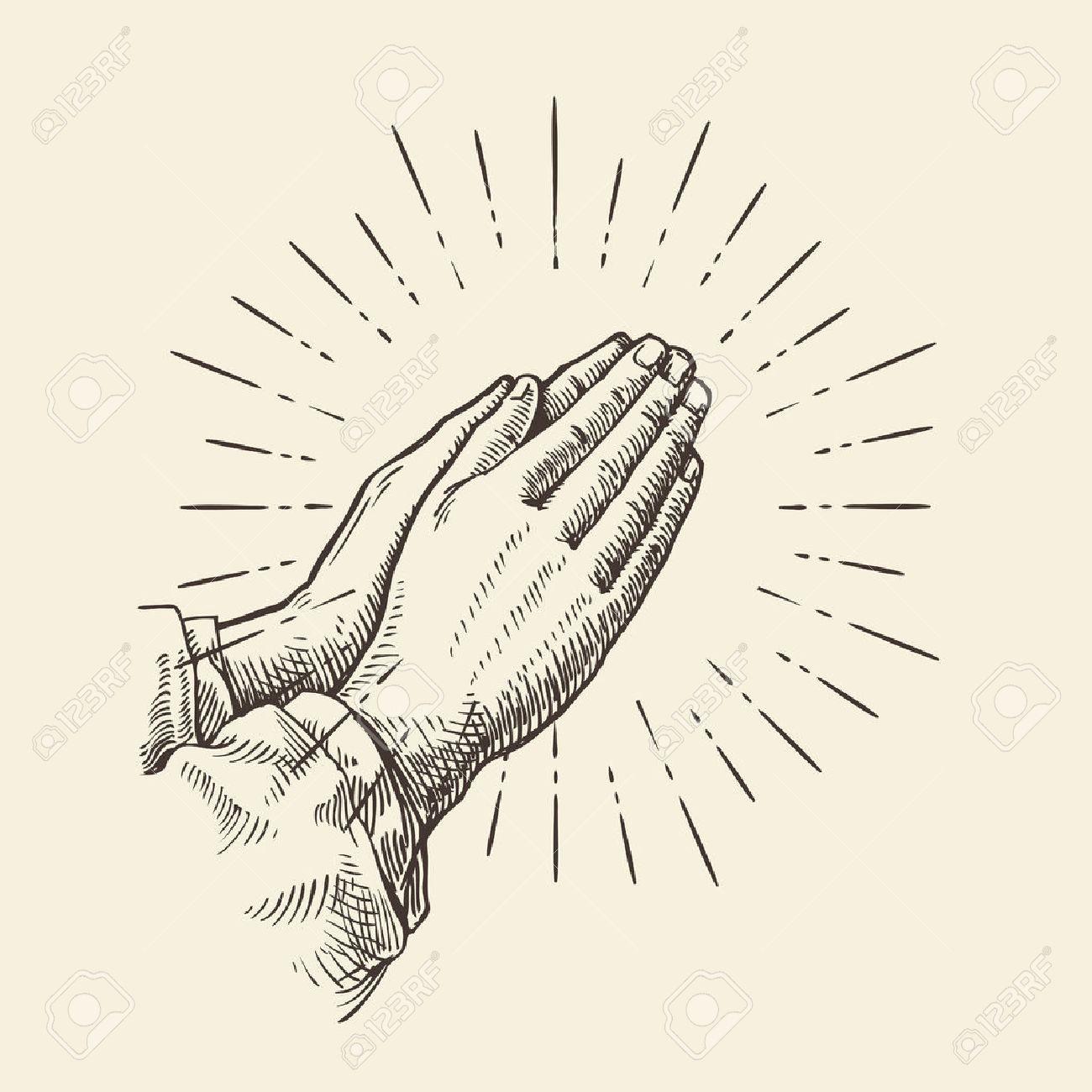 1300x1300 Praying Hands. Hand Drawn Sketch Vector Illustration Royalty Free