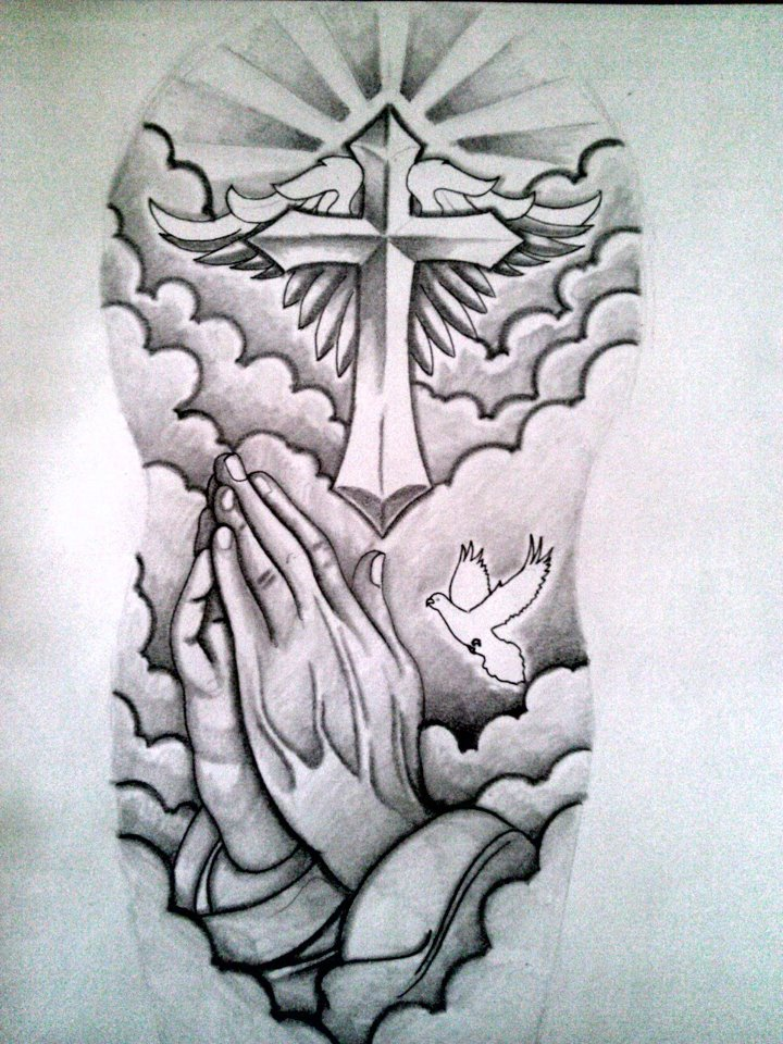 720x960 Grey Ink Cross And Praying Hands Half Sleeve Tattoo Design