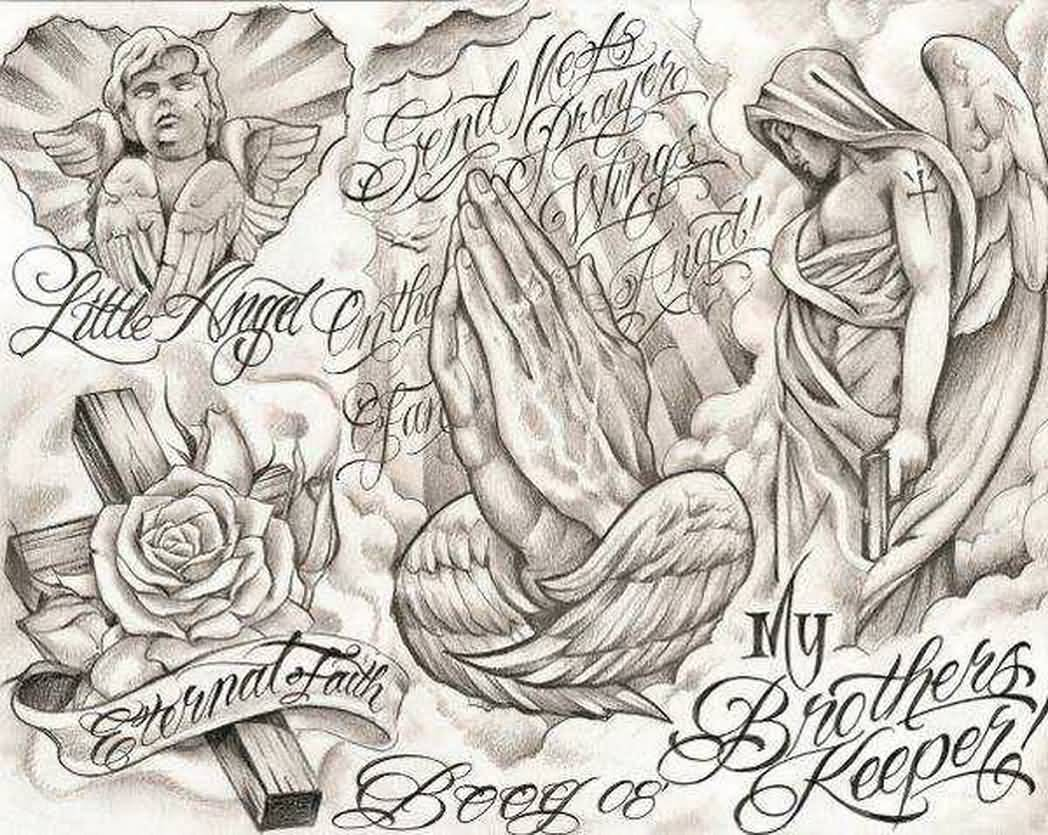 1048x835 Praying Hands And Ange Chicano Tattoo Design Tattoo