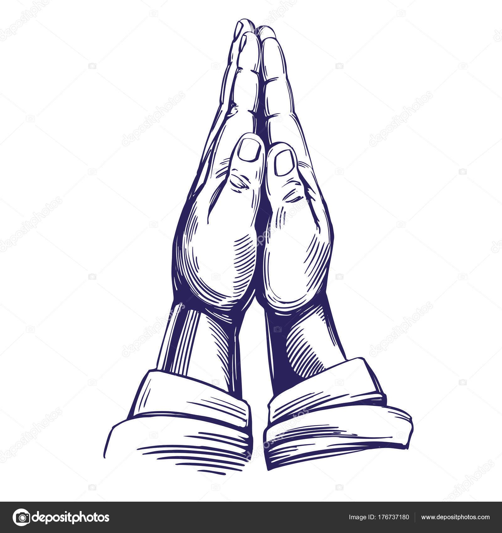 1600x1700 Praying Hands , Symbol Of Christianity Hand Drawn Vector
