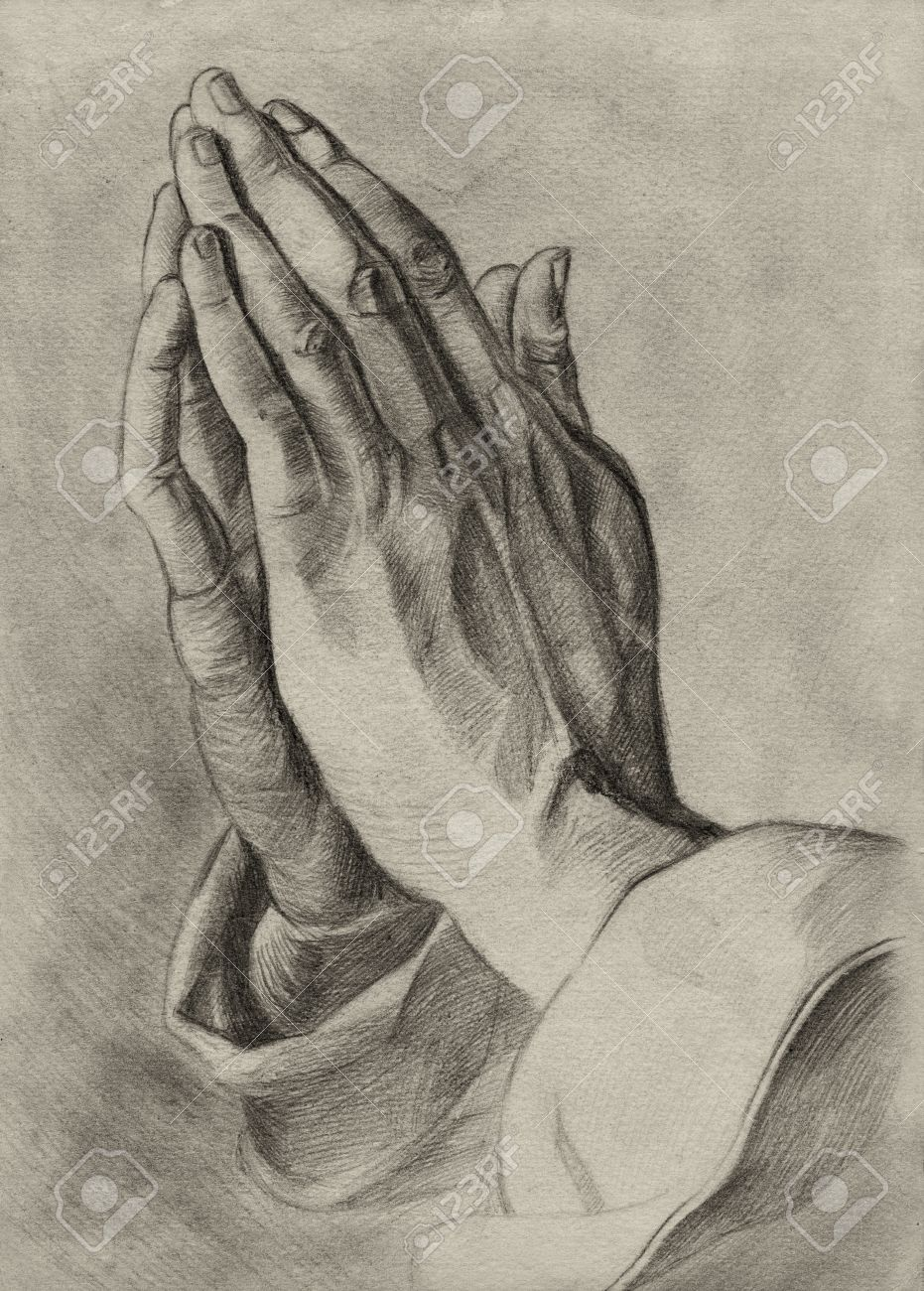 931x1300 Hands In Pray Pose. Pencil Drawing. Stock Photo, Picture