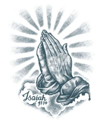 350x450 Isaiah 4110 Praying Hands temporary tattoo – TattooedNow! Ltd.