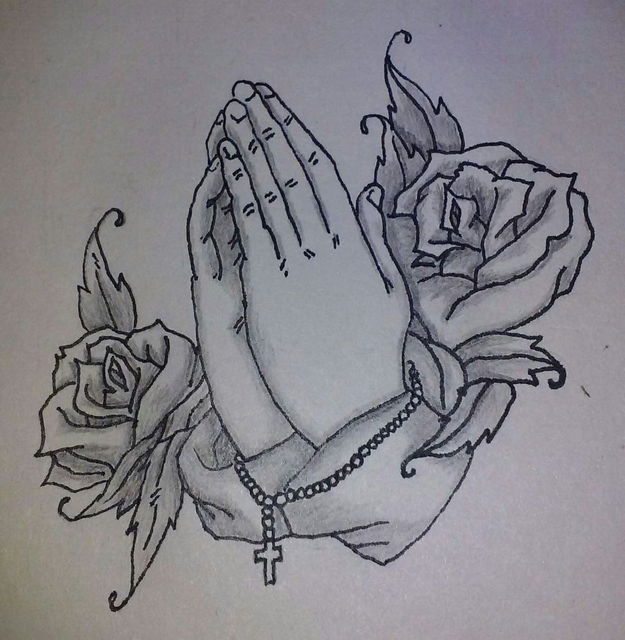 883x905 Praying Hands With Rosary By Wearefearless